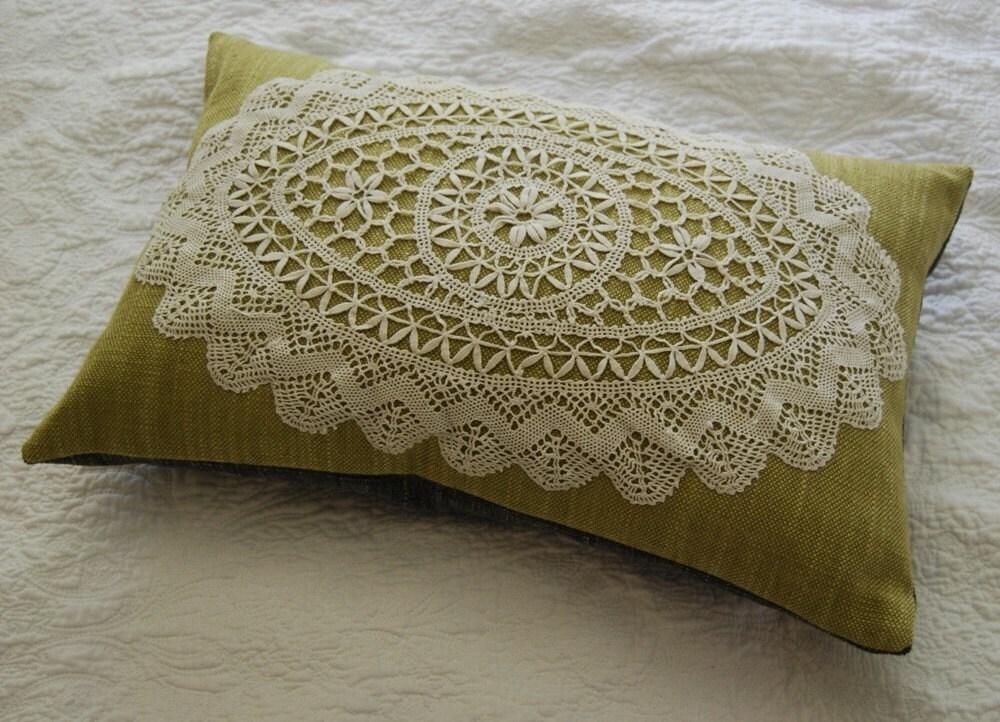 Green linen vintage doily pillow with kapok