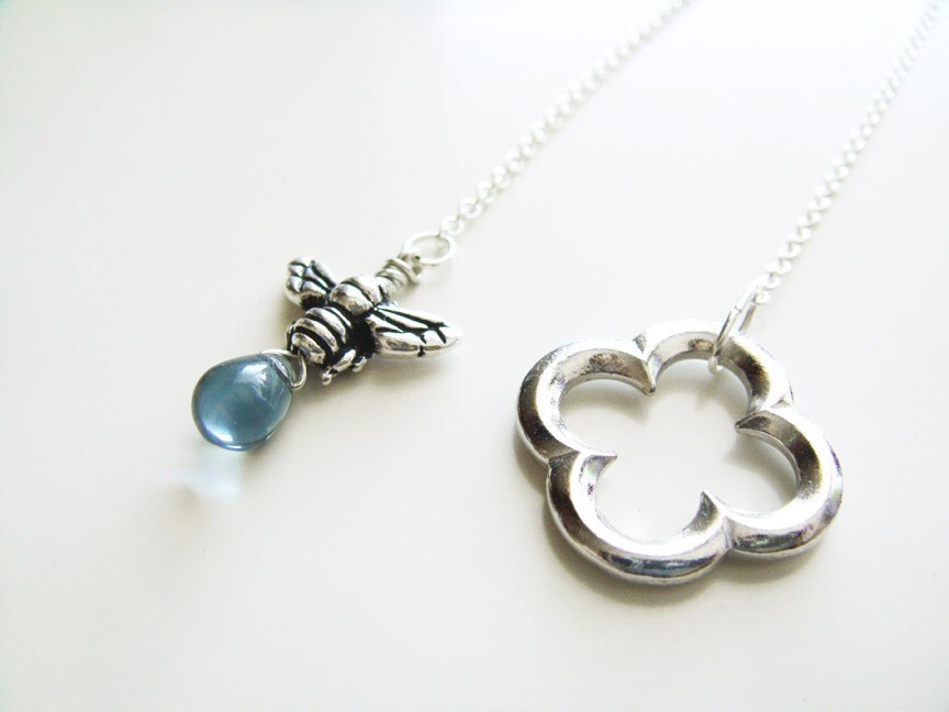 Honey and Clover Necklace  Silver and Blue by petitehermine from etsy.com