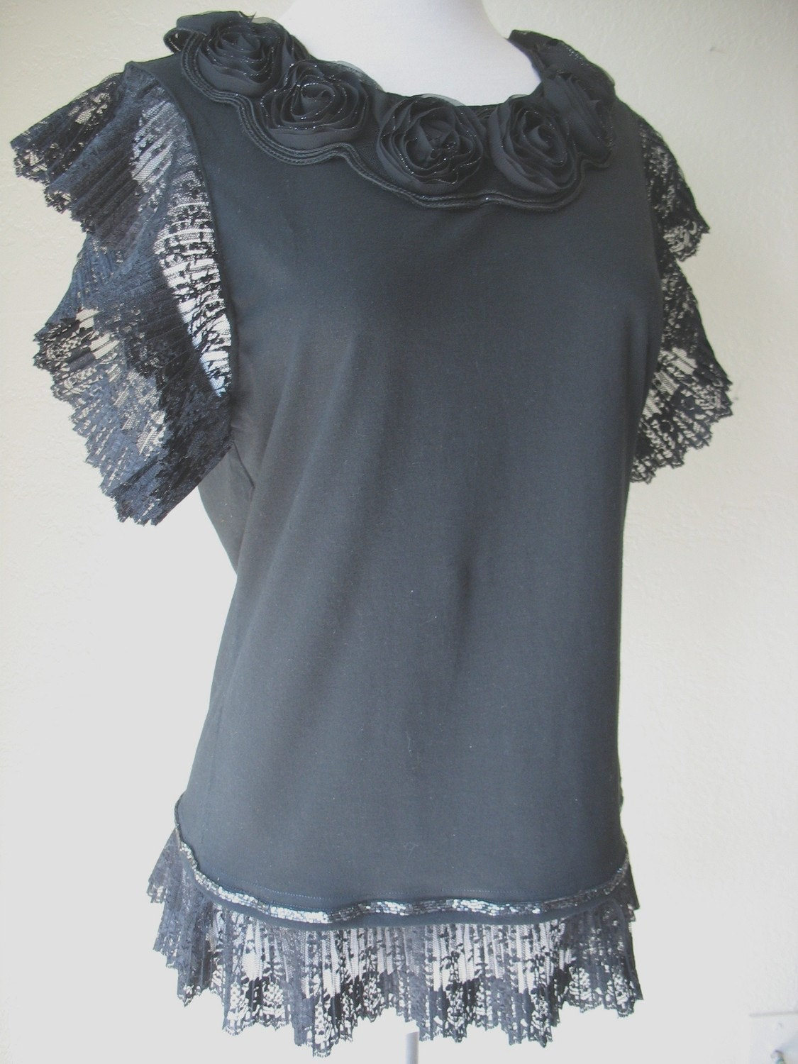 BLACK FANCY TEE with VINTAGE LACE by MaggieGlynn