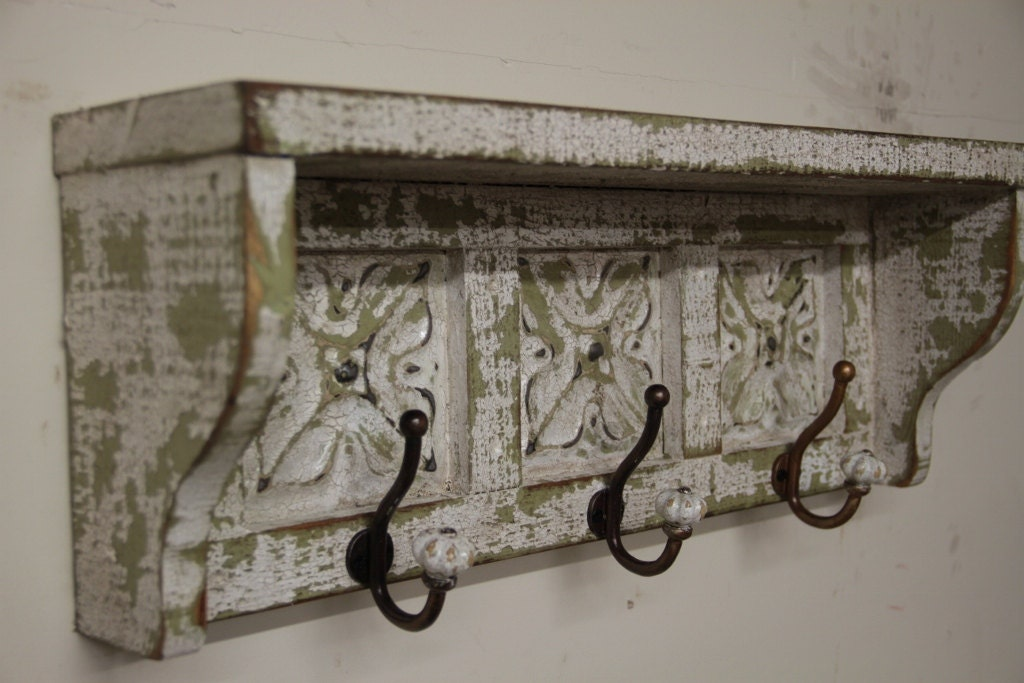 French country wall shelf primitive wall shelf by lynxcreekdesigns - Adding character to your hallway with a hall tree ...