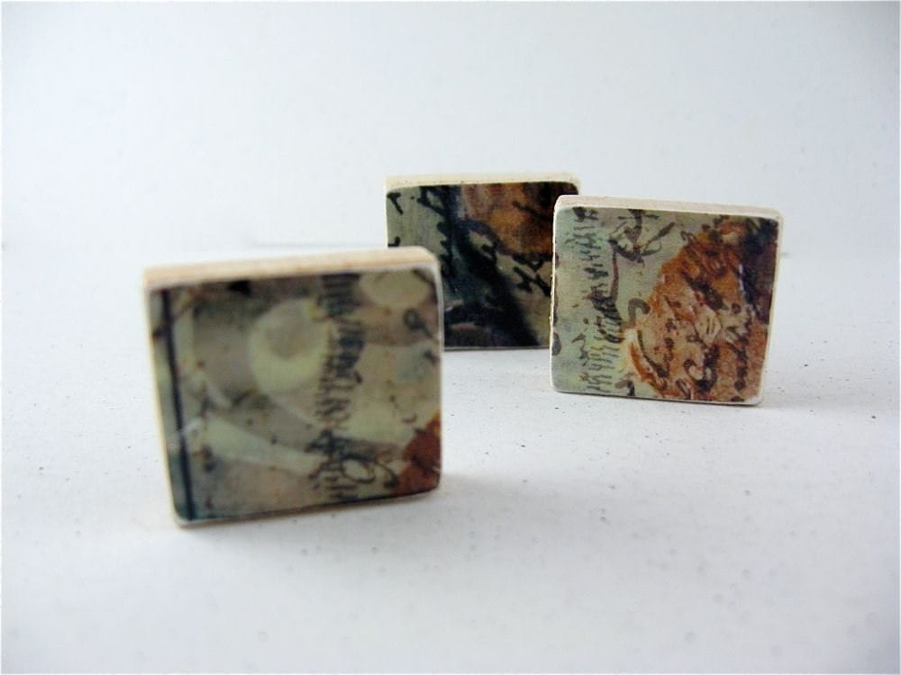 Abstract Fridge Magnets / Green Gold Brown / ready to ship - PipingHotPapers