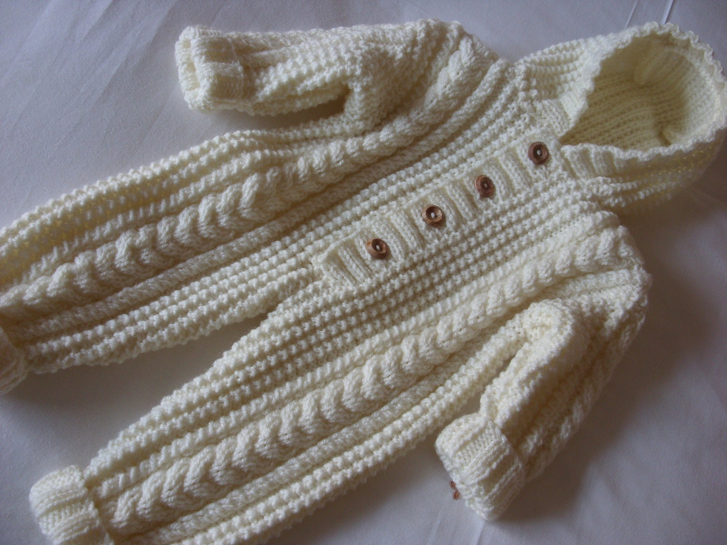 Knitted All In One Baby Suit Pattern : Cream Aran Handknitted Baby All In One-Knitted by elisabeth76