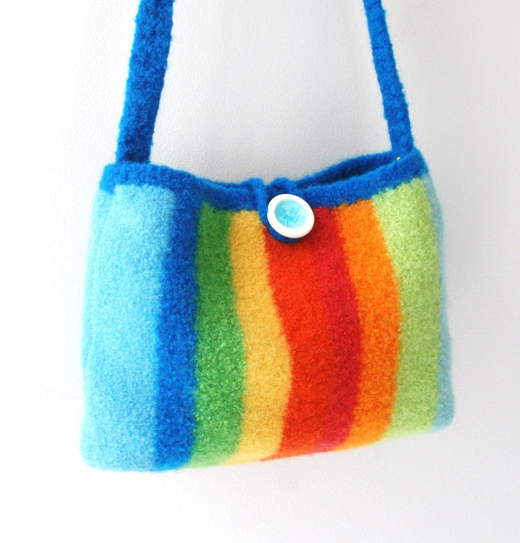 rainbow stripe felted handmade shoulder bag