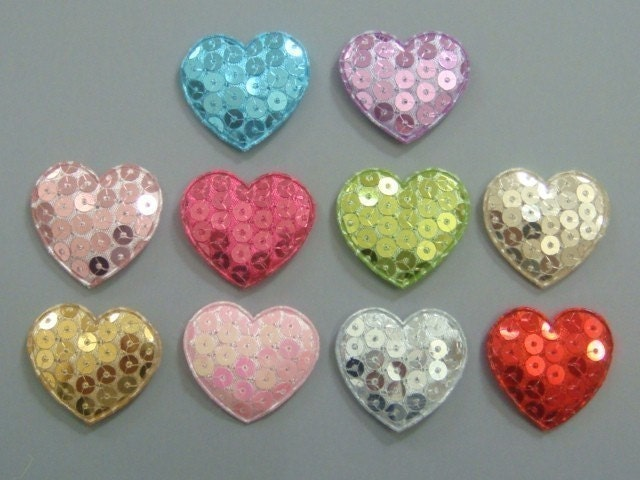 20 Padded Sequin Heart Appliques Sewing Craft Trim EA124