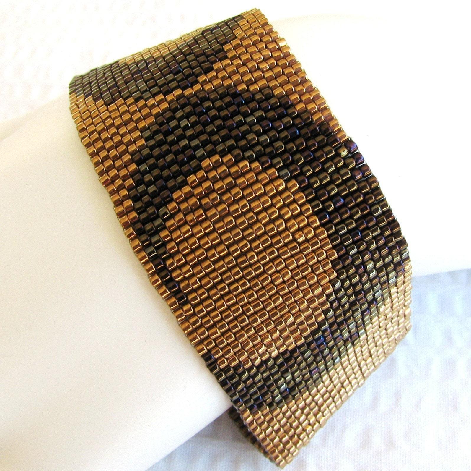 Wide Bronze Peyote Cuff (2139) EtsyFreeShipping