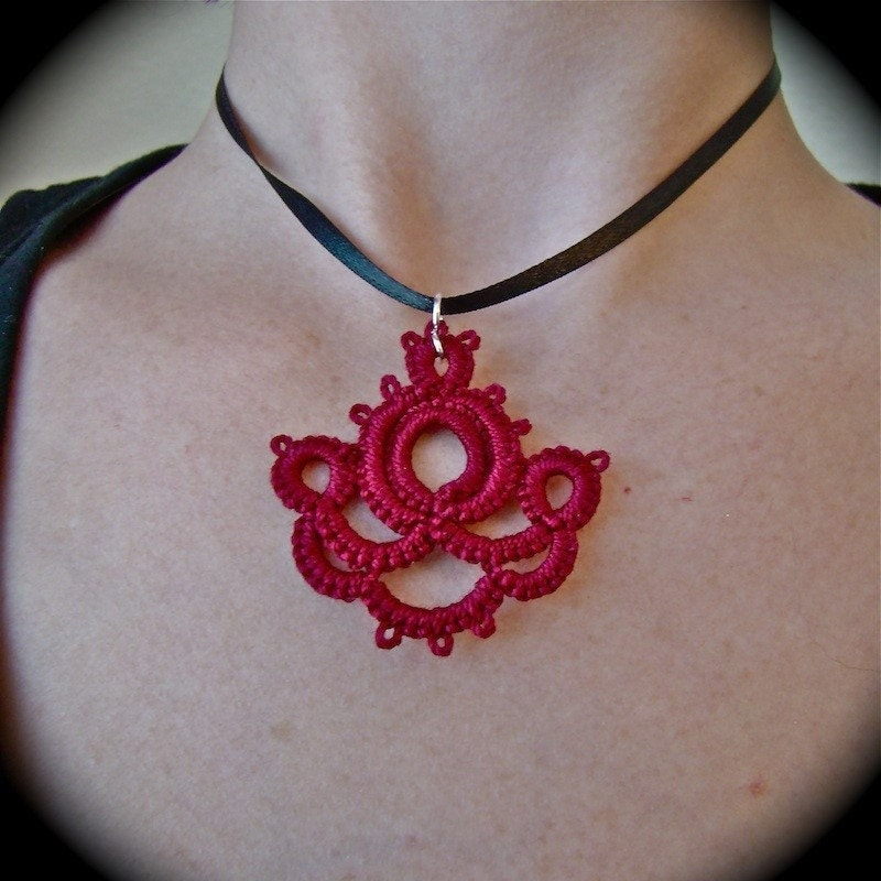 Art Nouveau Inverted - Tatted Lace Pendant and Earring Set in Burgundy Red