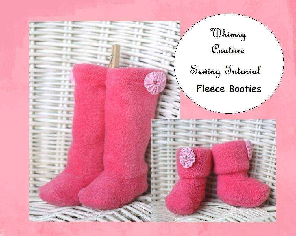 Whimsy Couture Sewing Pattern Tutorial ebook BABY KIDS FLEECE BOOTIES BOOTS SHOES NB 6m 9m 12m 18m 24m 2t 3t 4t 5t