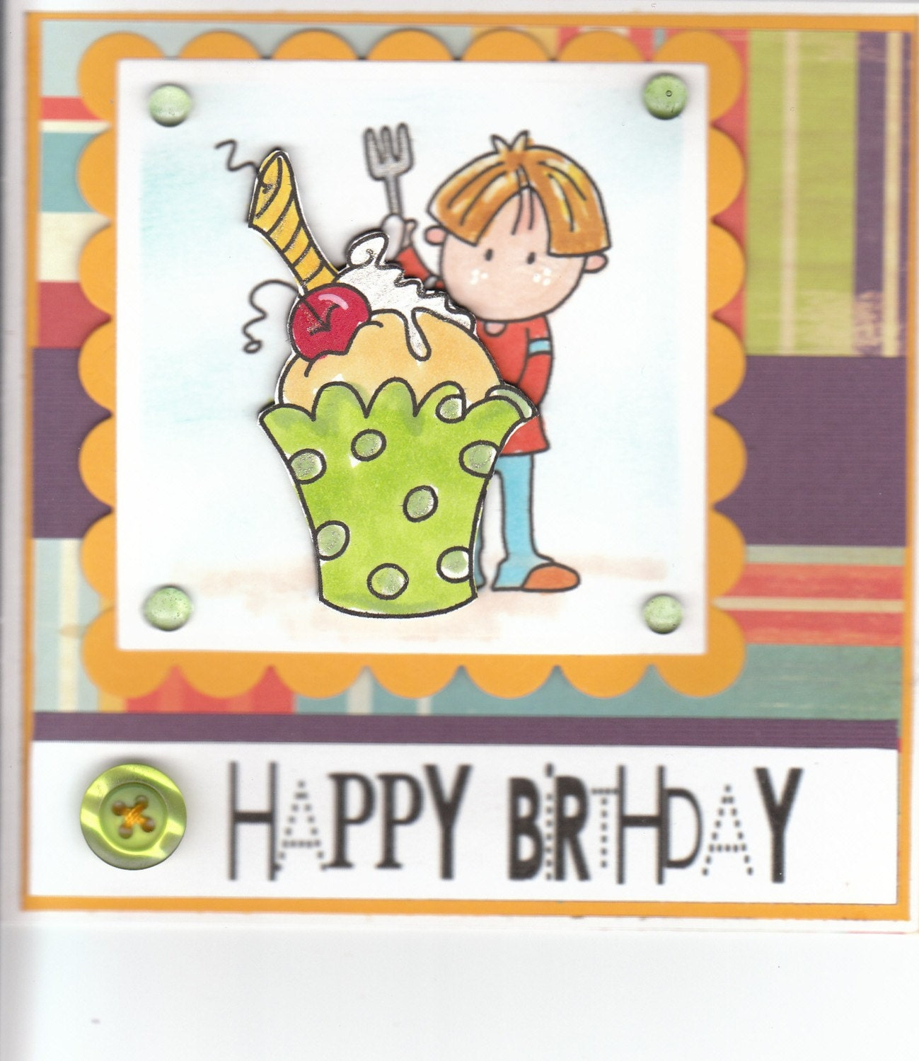 HAPPY BIRTHDAY CUPCAKE BOY HANDMADE CARD