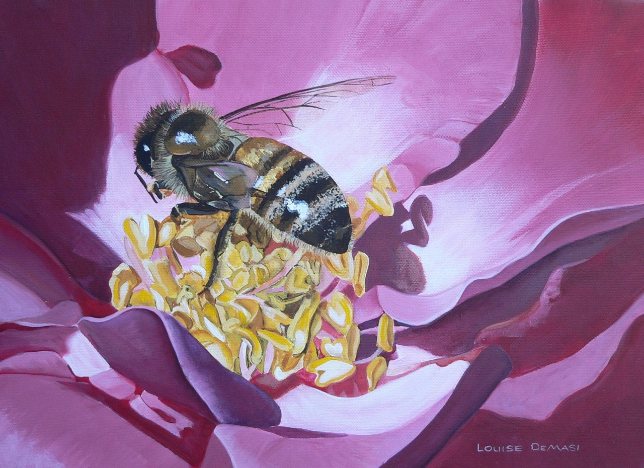 Busy Bee - Pink Flower Original Acrylic Painting