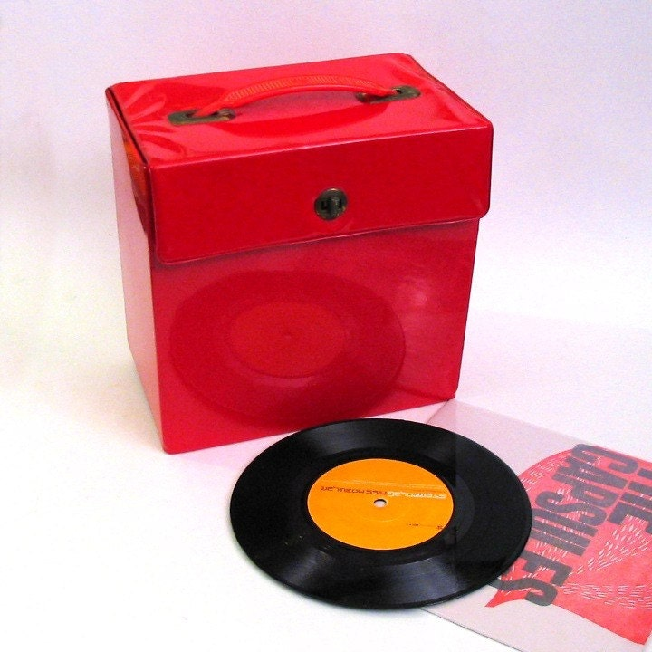 Cheery Red Vinyl Organizer Box - Vintage