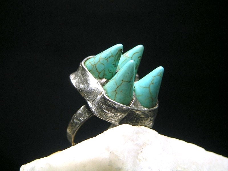 TURQUOISE Ring - Big Stone Ring - Turquoise Howlite Ring - Tiffany Technique - AMW ATELIER - AMWatelier