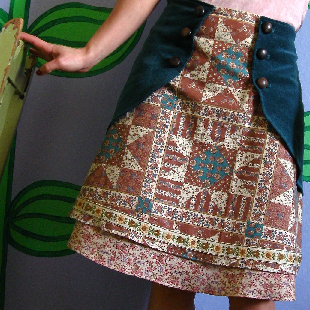 Corduroy and patchwork skirt