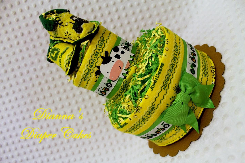 baby diaper cake john deere baby shower gift by diannasdiapercakes