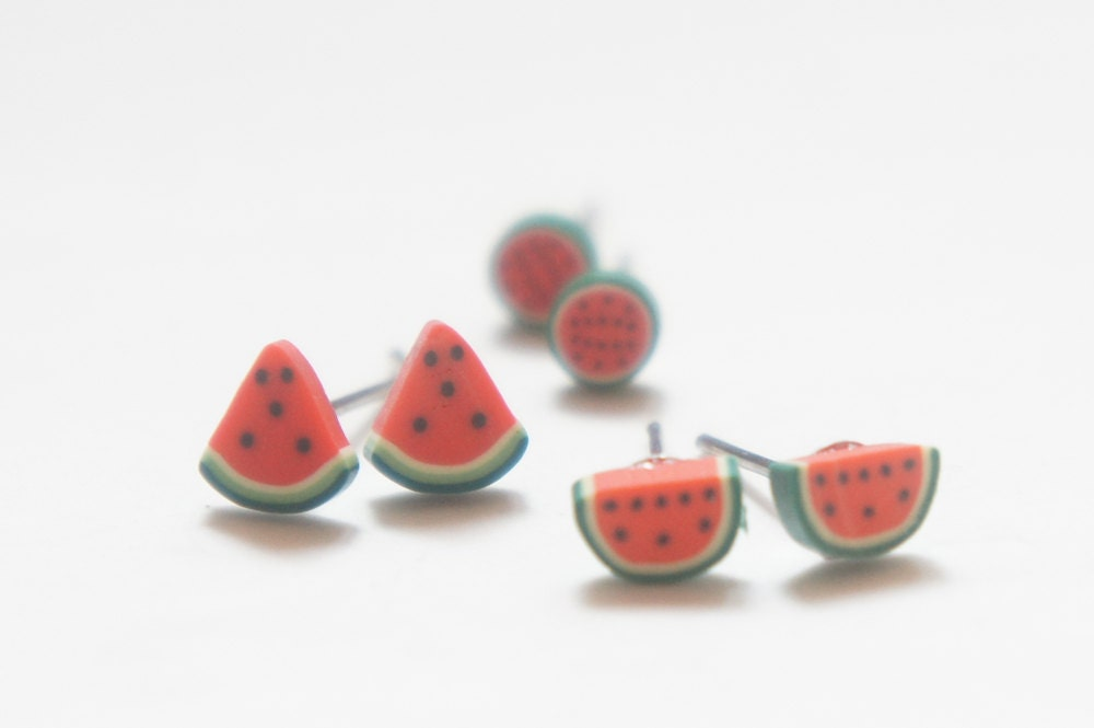 Tiny Baby Miniature Watermelon Fun Post Earrings - Full / Half / Quarter - cheapandchicland