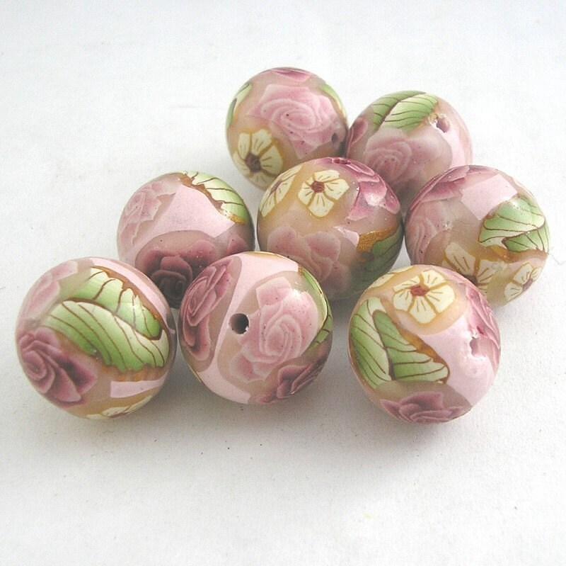pink rose beads