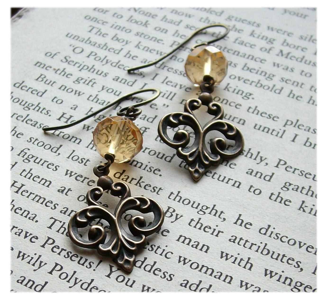 handmade brass bead earrings filigree pawandclawdesigns