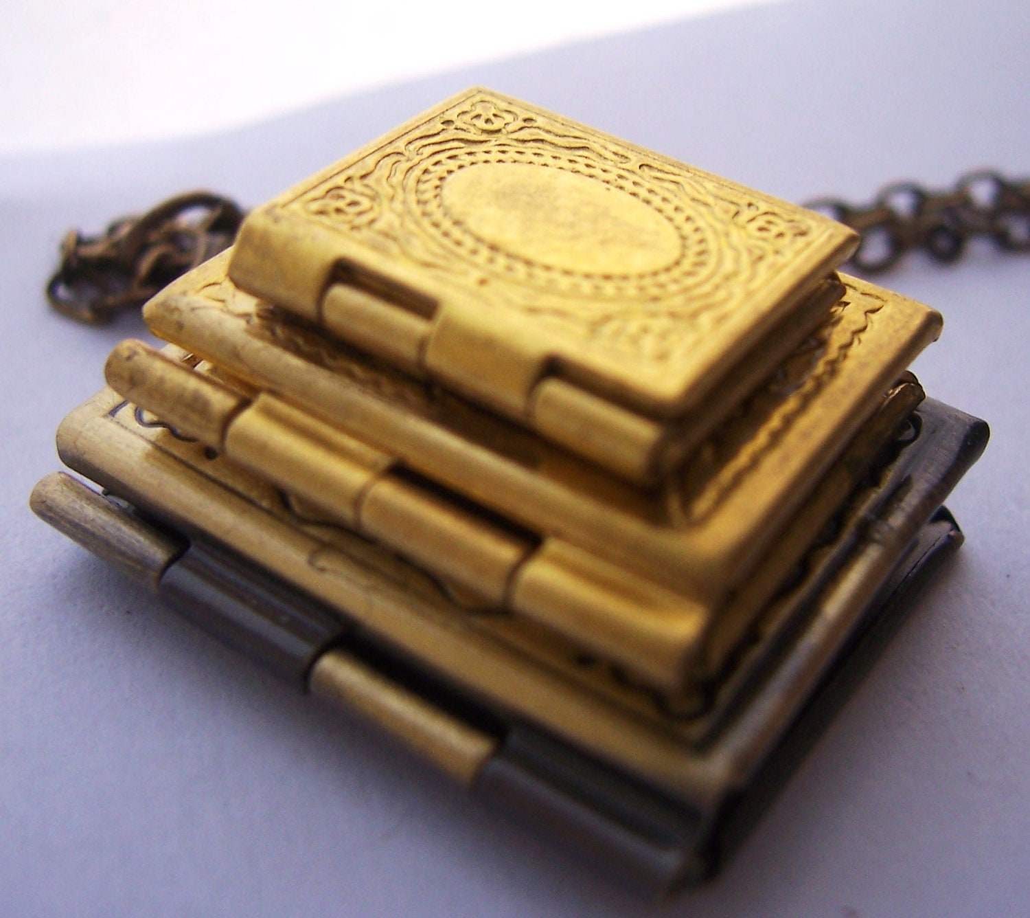 Stack of Books - the book lovers locket necklace - 3 vintage brass lockets - - 1luckysoul