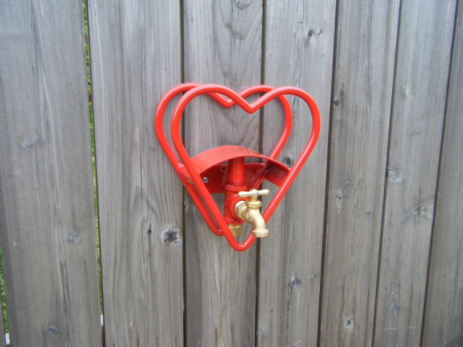 Red Heart Garden Hose Reel Holder With Faucet by TheTownTinker