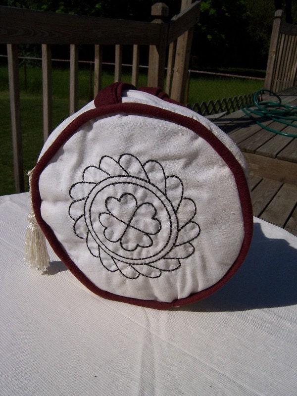 Circle Handbag with Blackwork Flower