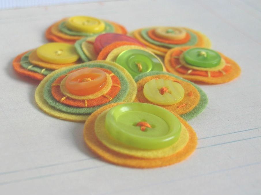 ЦИТРУСОВЫХ СЪЕМКА Кнопка Фенечки - набор из 9 Оранжевый Желтый и зеленый слоистых Войлок Украшательства