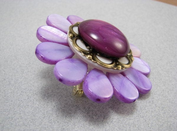 Upcycled Blossom Brooches--Get your Spring on-Purple