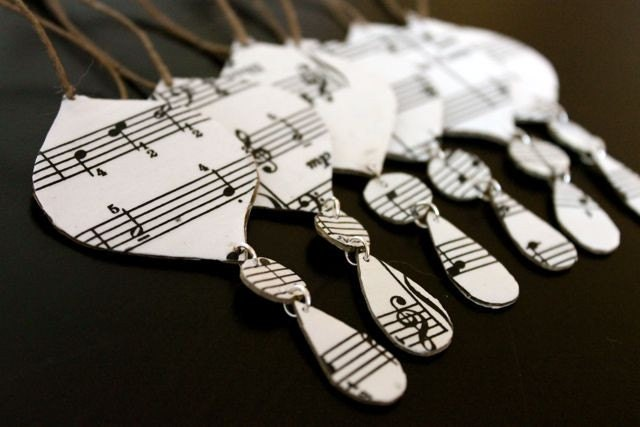 24 Music sheet christmas ornaments (free shipping)