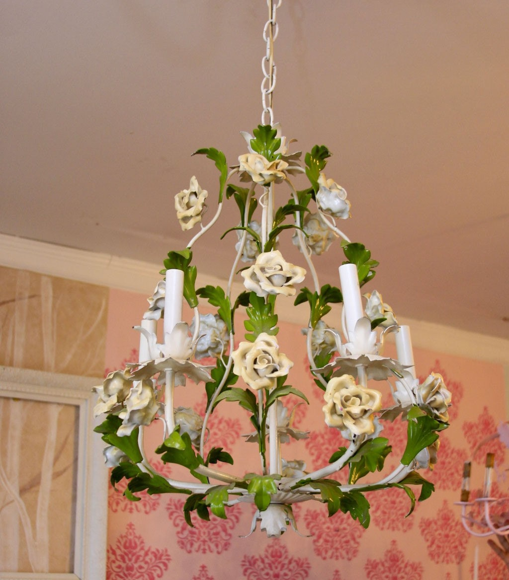 vintage tole rose s huge chandelier shabby chic birdcage white yellow fabulous