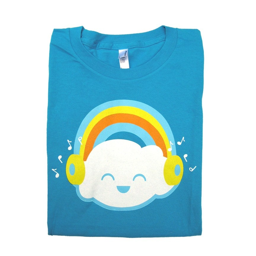 Happy Rainbow Cloud Womens Amercian Apparel T-shirt Teal