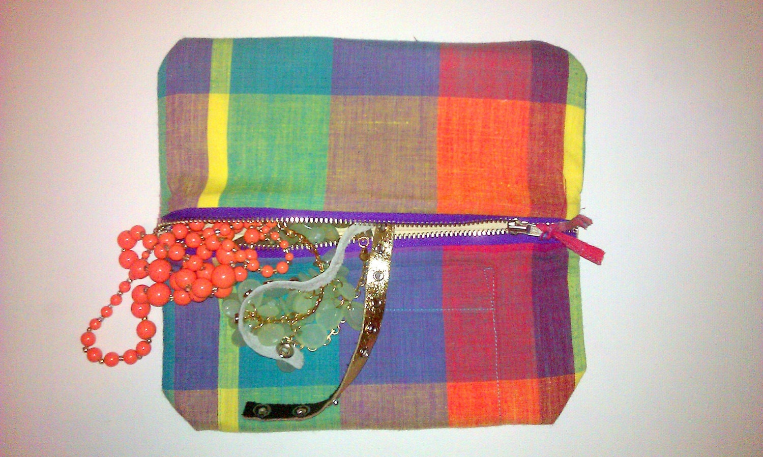 Bright Flannel Patterned Makeup/Jewelry Bag Fully Lined