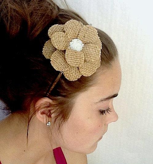 Burlapped Daisy Paper Mache Headband