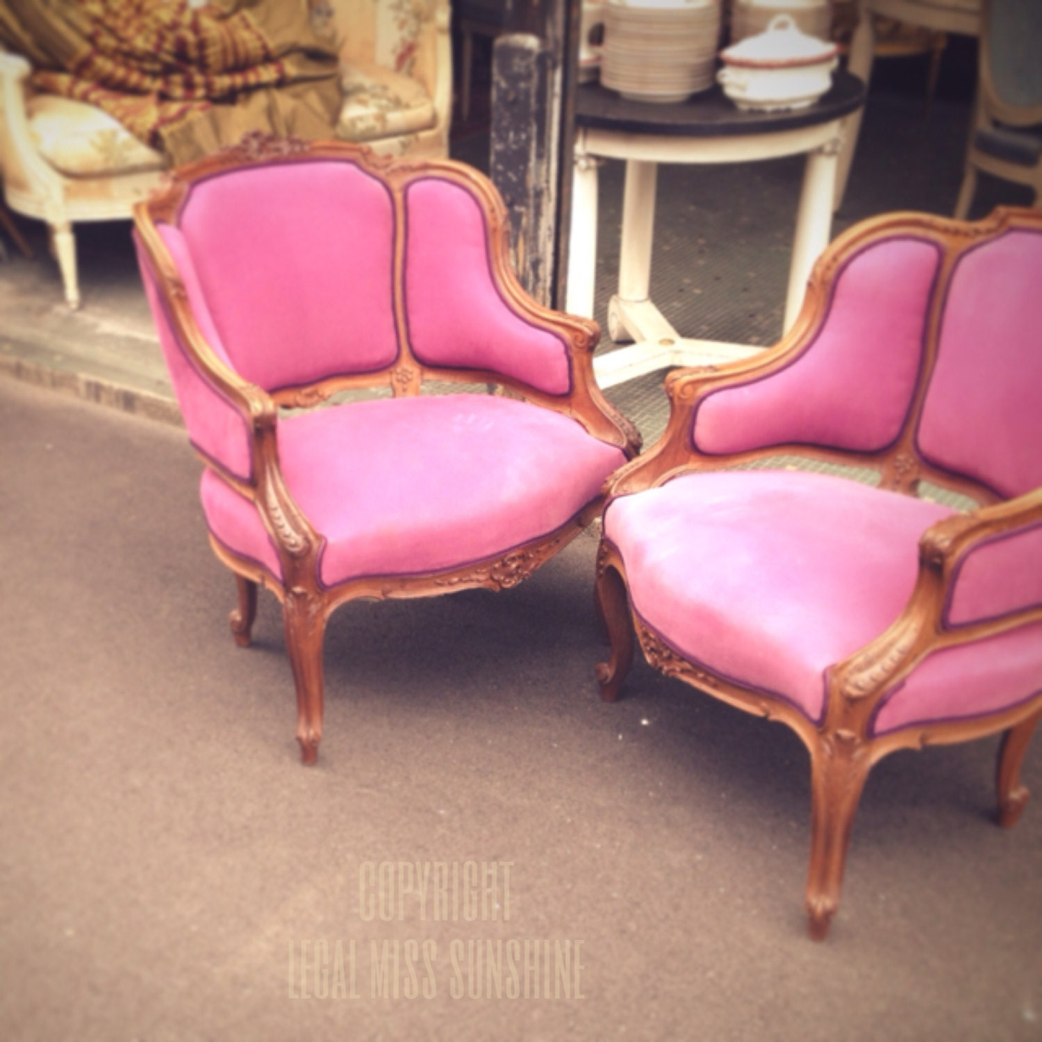 paris flea market photography: 5x5 of two amazing pink chairs - LegalMissSunshine