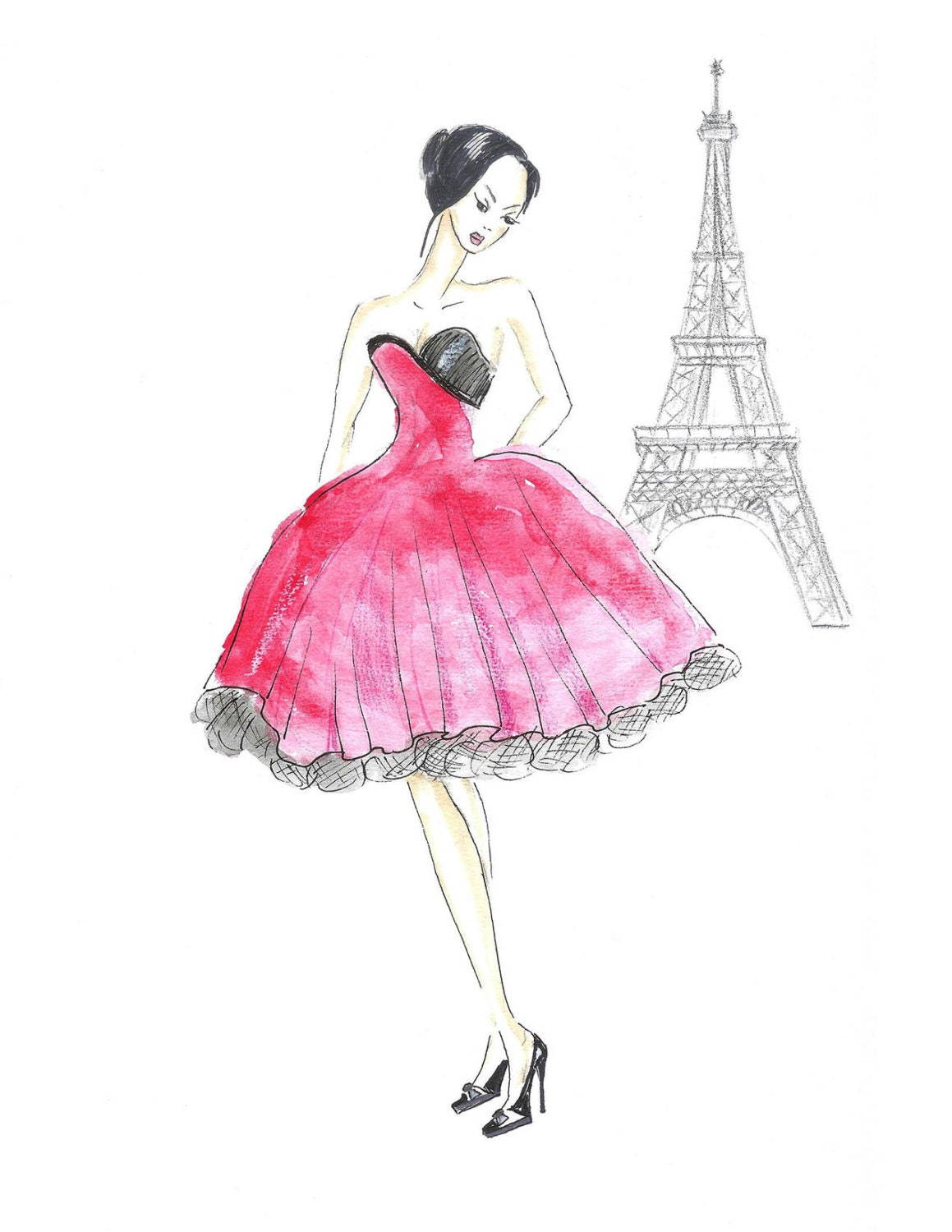 Red dress fashion illustration paris hot pink watercolor by zoia