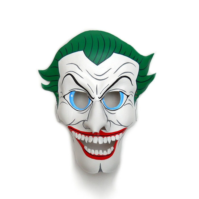 The Joker Batman Leather Masks Villain Comic white green Carnival Clown Halloween Costume Masquerade Circus Bachelor Mardi Gras Gift - LMEmasks