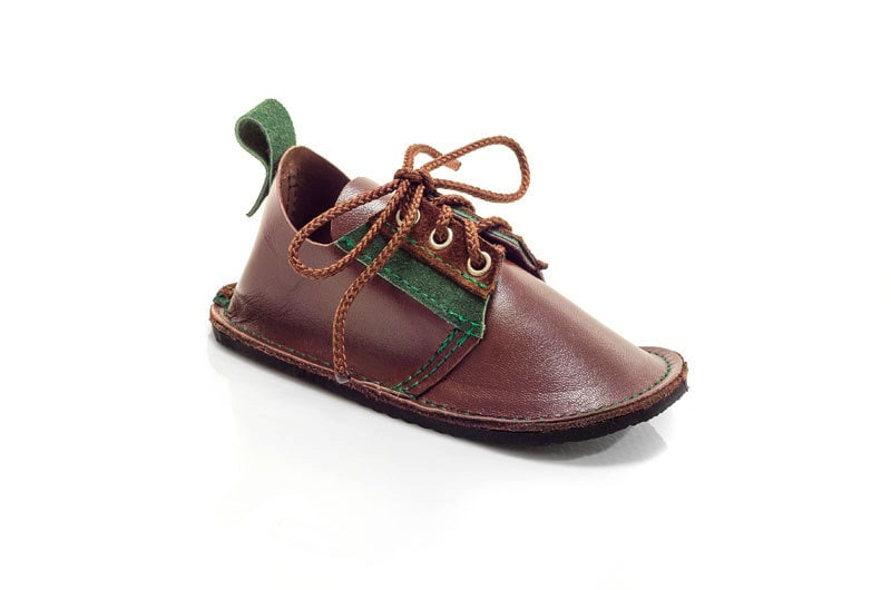 Hand made brown and green leather childrens shoes, toddler shoes, outdoor shoes - PiciPapucs