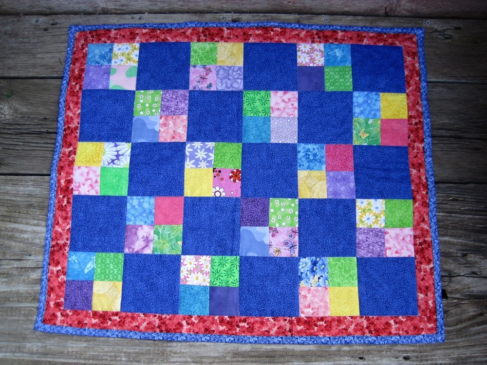 Doll Quilt Cherry and Cerulean FREE SHIPPING