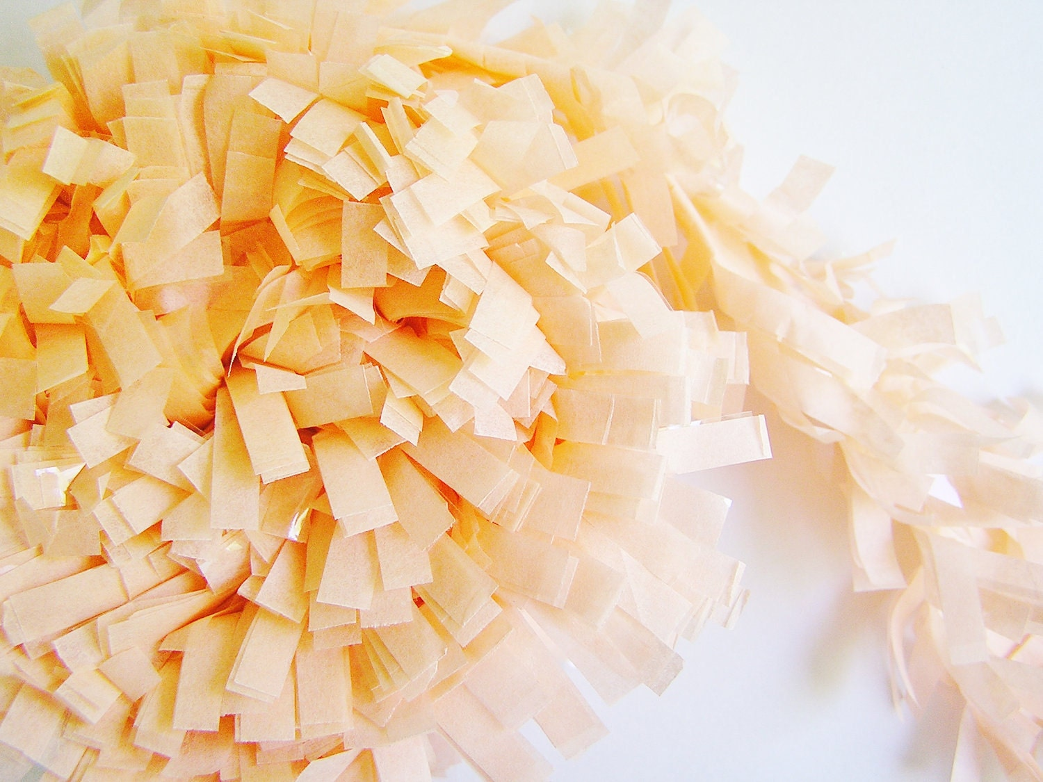 Sweet Peach tissue Fringe Garland/ Trim  - for gift wrapping, altered art, scrapbooking, decorating, weddings, party supply, holiday