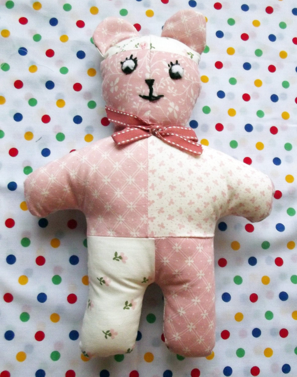 Pink and White Patchwork Teddy Soft Toy Stuffed Animals Baby Gift Softie Soft Toys Nursery Decor