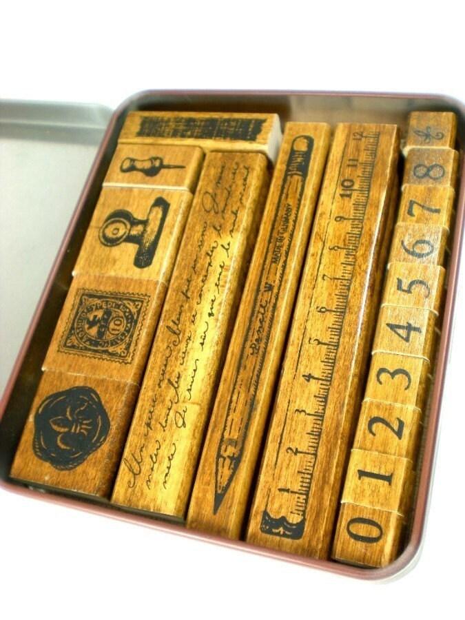 Kodomo Margaret Tin Case Rubber Stamp Set - Stationery