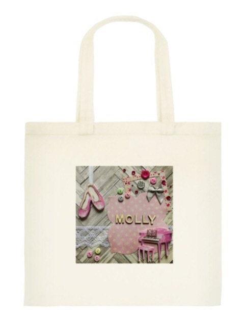 Personalised Bag  personalised gift handmade design ballet bag pink bag ballet ballet shoes cotton tote bag girl gift bff gift