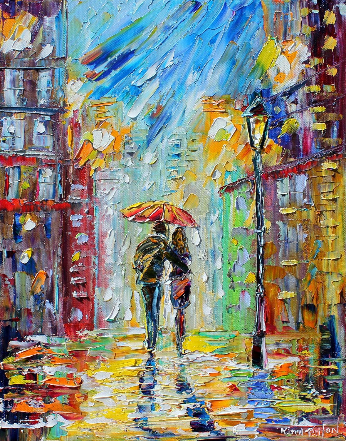"Rain Romance 22"" x 28"" Gallery Quality Giclee Print on Museum Archival canvas of Original painting by Karen Tarlton fine art - Karensfineart"