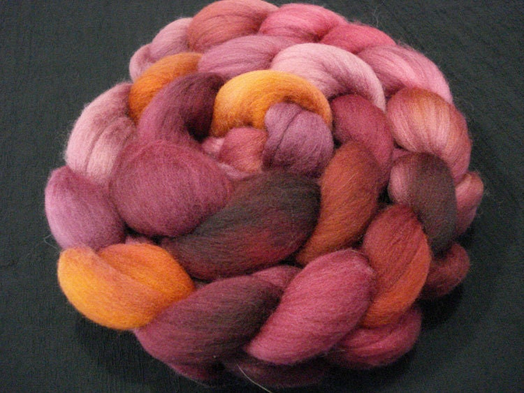 Hand Dyed Superfine Merino  -  4 ounces - Burgundy, Vermillion and Gold - JakiraFarms
