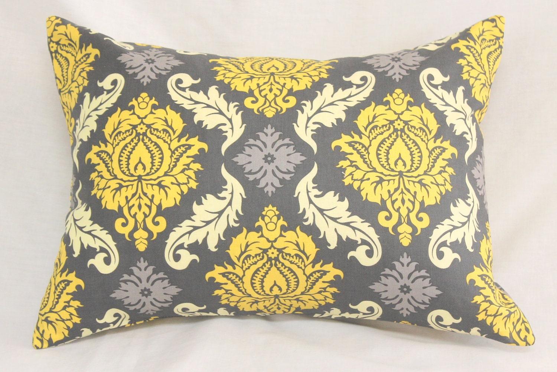 Decorative Pillow Cover Granite Gray & Mustard Yellow Damask 12 x 16 Accent Lumbar