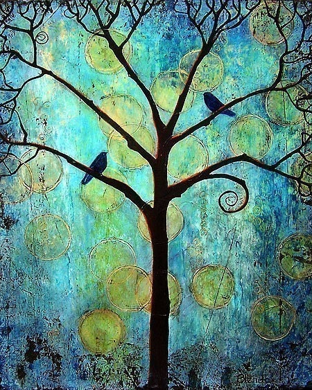 Tree of Life Art Print Twilight Circles Birds Blue 8X10 - blendastudio