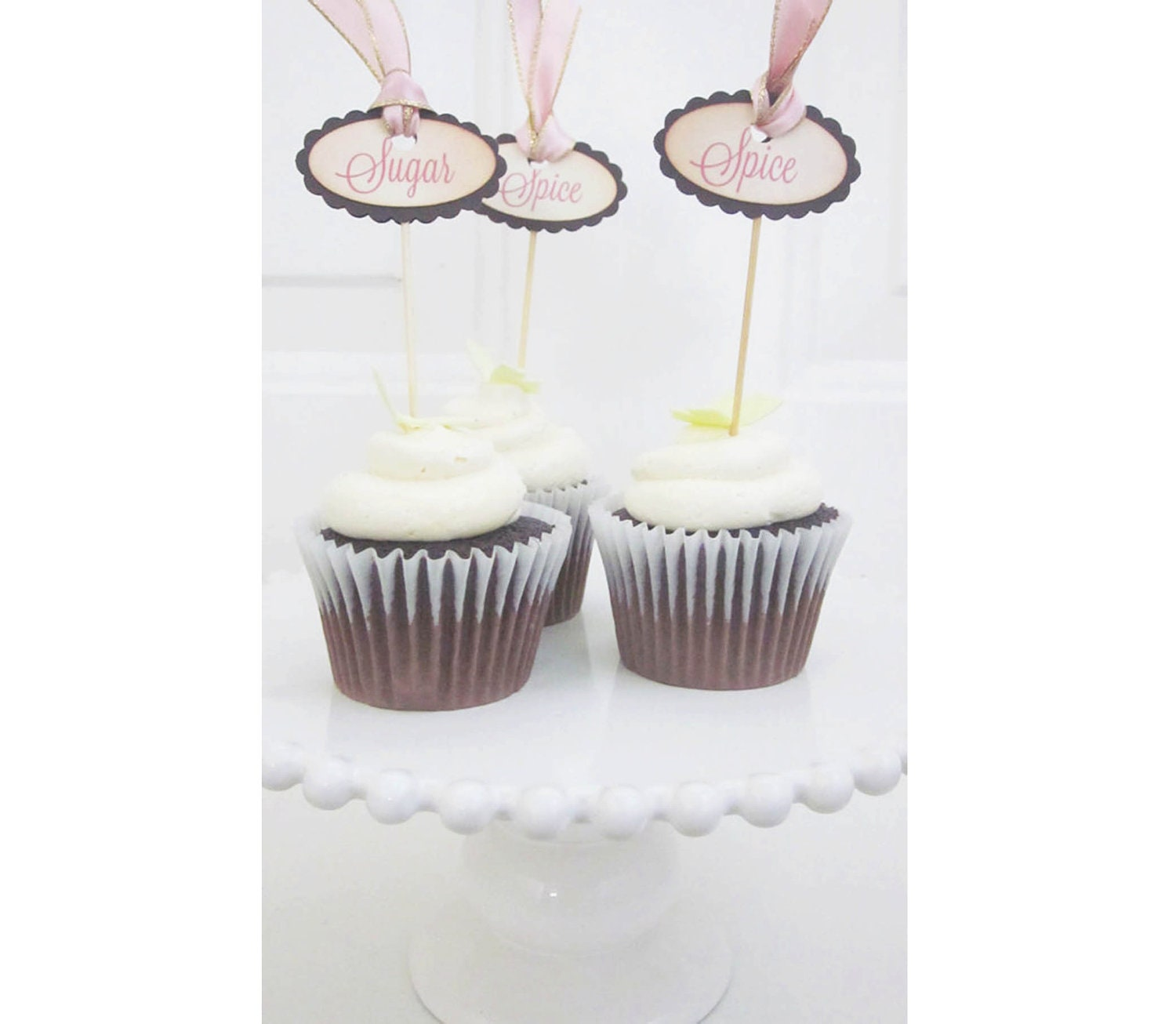 Items similar to Sugar and Spice cupcake topper picks - vintage ...