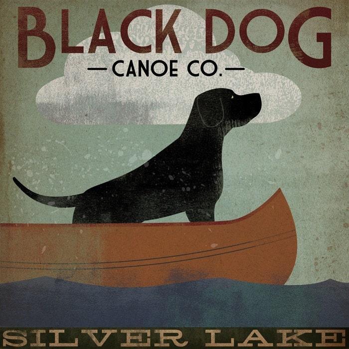 SILVER LAKE BLACK DOG Canoe Company Giclee Print 12x12 Signed