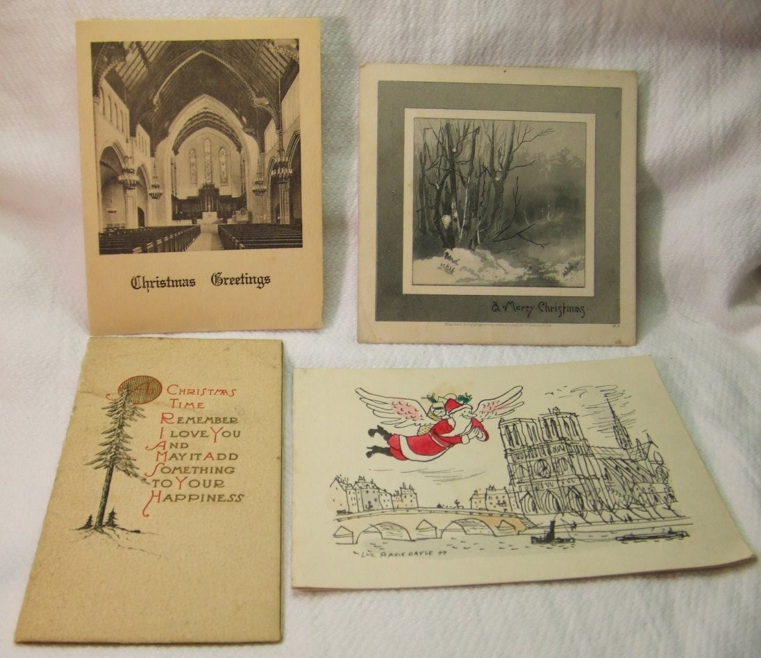 Grouping of 4 Vintage Christmas Cards Circa 1930-40s