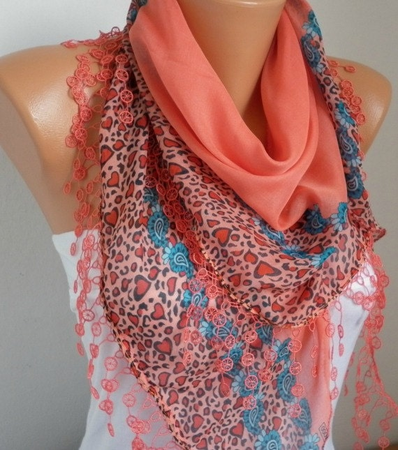 ON SALE -Summer Scarf Shawl  -  Cotton Weddings Scarves -  Cowl  with  Lace Edge - Coral