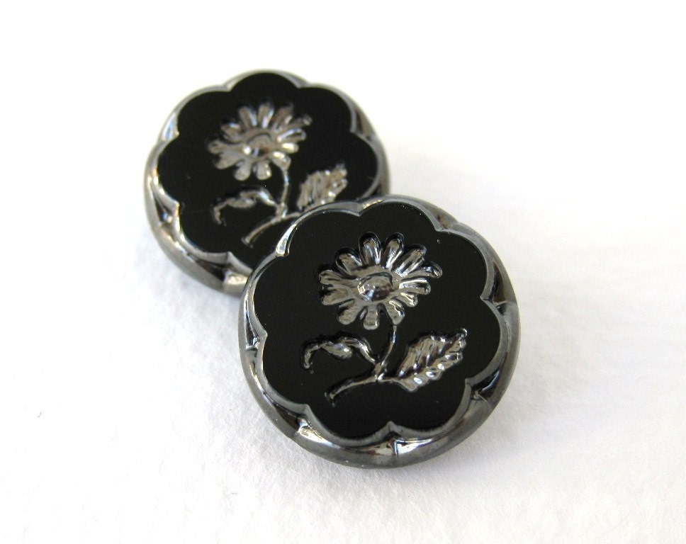 Vintage Flower Buttons Glass Silver Black Intaglio Czech 18mm but0195 (2) - BumbershootSupplies