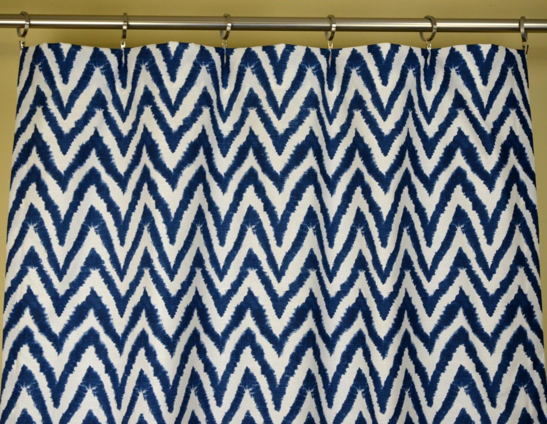 Chevron navy curtains