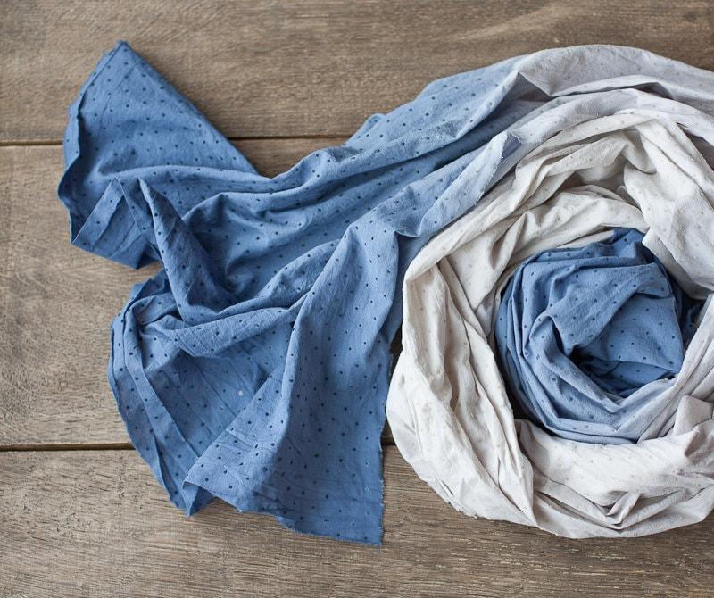 Ombré Scarf Indligo Blue Hand dyed Pareo cotton minimalist scarf polka dot scarf winter christmas gift - frenchfelt